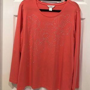 CJ Banks, size 1x, tangerine top with sparkle.